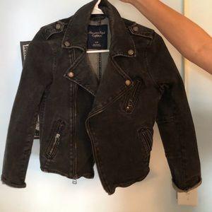 Black denim moto-jacket